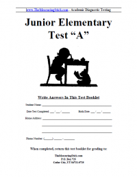 Junior Elementary Version A Booklet